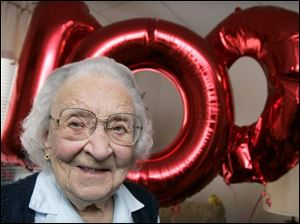 Pauline Borden fetes her 100th in her Springfield Township apartment.