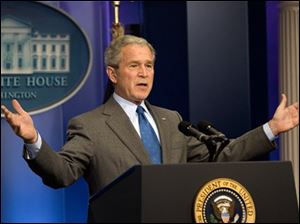 President Bush answers questions from reporters during a news conference at the White House in Washington, Thursday. (ASSOCIATED PRESS)