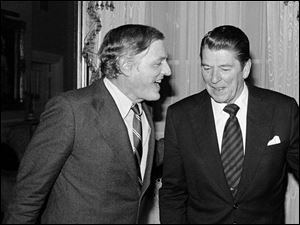 William F. Buckley, Jr., enjoys a light moment with Charlton Heston during a 'Firing Line' debate in Hillsdale, Mich., in 1990. associated press Mr. Buckley was called by President Ronald Reagan 'the most influential journalist and intellectual of our era.'