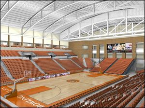 This artist s rendering shows the planned Stroh Center, expected to cost $36 million. Construction is to begin in 2010, with completion in 2012. It is to seat 5,000 for games and graduations.