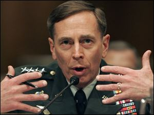 Gen. David Petraeus testifies on Capitol Hill in Washington, Tuesday, April 8, 2008, before the Senate Armed Services Committee hearing on the status of the war in Iraq.
