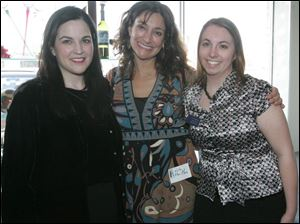 Leslie Adams, left, with Kate Abu-Absi and Liz Schurrer at  Arts Night  presented by the University of Toledo Visual and Performing Arts Alumni Affiliate.