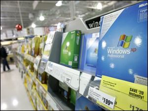 An upgrade edition of the Microsoft Corp. Windows XP Professional computer operating system is shown on sale at a CompUSA store in a Tukwila, Wash., file photo. (ASSOCIATED PRESS)