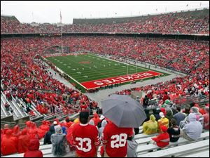 Despite the rain, an announced crowd of 76,346 showed up at Ohio Stadium