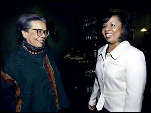 Marian Wright Edelman, left, author and founder and president