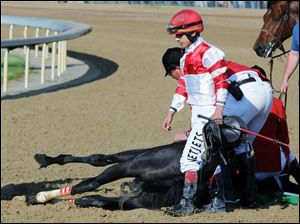 Jockey Gabriel Saez leaves as track personnel attend Eight Belles. The horse was euthanized after the Kentucky Derby.