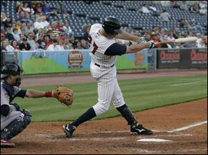 Hens third baseman Mike Hessman hits his International League-leading 11th home run of the season last night.