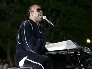 Singer Stevie Wonder performs before a rally for Democratic presidential hopeful, Sen. Barack Obama, D-Ill., in Indianapolis on Monday. (ASSOCIATED PRESS)