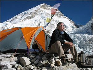 Climber and filmmaker David Breashears outside his tent at Everest Base Camp. He made it back to safety.