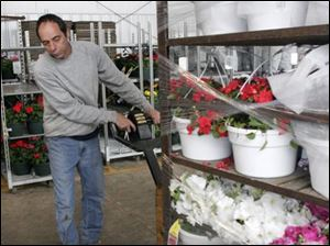 Douglas Tyson moves racks of pots at Gedert's Greenhouse, a program participant, which plans to hire five employees.
