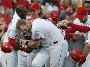 Cincinnati's Adam Dunn is mobbed by his Reds teammates after his game-winning home run.