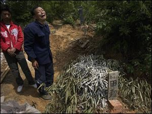Bai Yushan, second from left, grieves near the branch-covered burial mound of his grandson Tian Chao who died after a school dormitory collapsed following Monday's quake in Muyu, southwestern China's Sichuan province, Sunday, May 18, 2008.