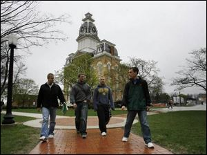 Students head to class at Hillsdale College.