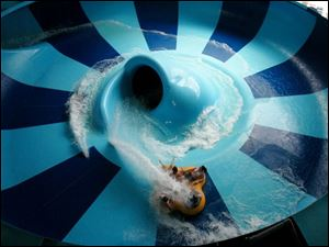 Patrons ride the Swahili Swirl at the Kalahari waterpark resort near Sandusky, Ohio.