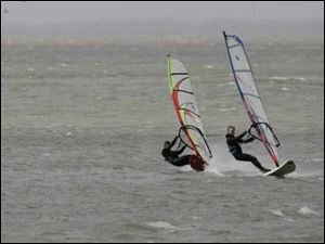 Lake Erie is a haven for windsurfing because of its warm water and calm wind compared to the rest of the Great Lakes.