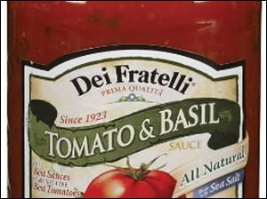 Pictured is a can of Dei Fratelli Tomato & Basil Pasta Sause, a local product.