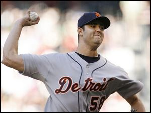 Detroit Tigers starting pitcher Armando Galarraga picked up the victory, allowing one hit and two runs in six innings.