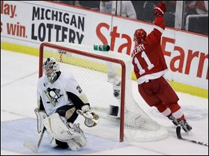 When Detroit's Dan Cleary scored on Marc-Andre Fleury in Game 1, it wasn't the goalie's first embarrassing moment.