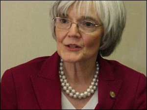 Nancy Hardin Rogers was in Toledo to preside over a symposium Friday.