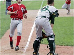 Central Catholic s Cory Lehman scores as Start catcher Kyle Maran waits for the ball in yesterday s City League semi-finals. The Irish won 9-3 to reach tomorrow s final against St. Francis, a 7-2 winner over Clay.