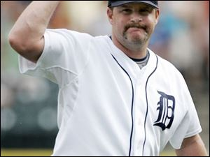 Detroit Tigers closer Todd Jones pumps his fist after getting Cleveland Indians' Asdrubal Cabrera to ground out in the ninth inning and record his 10th save in a baseball game Sunday.