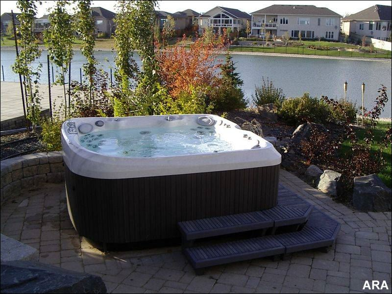 Backyard Jacuzzi Landscaping :  privacy to a hot tub This spa from Jacuzzi includes two waterfalls