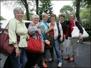From left, Beth Morrin, Mary Pat Krumlauf, Barb Biggs, Sandy Garvin, Sandy Stover, and Carolyn Hemsoth, high school friends since the 1960s, are ready to leave in a limo for a Mediterranean cruise to celebrate their birthdays.