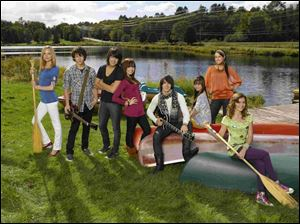 Camp Rock cast members, from left, Meaghan Jette Martin, Nick Jonas, Joe Jonas, Demi Lovato, Kevin Jonas, Anna Maria Perez de Tagle, Jasmine Richards and Alyson Stoner, the latest Disney Channel original movie.