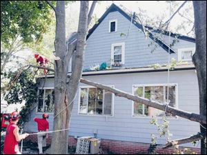 Workers from All Seasons Tree Care remove storm-damaged trees.