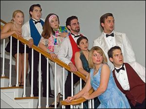 The cast of Rumors includes, from left, Julie Berry, Chris Stewart,