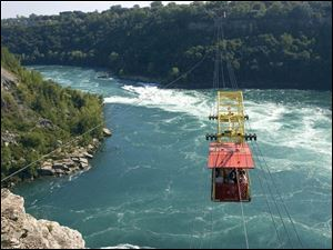 Cable car passengers get a bird's-eye view of the whirlpool rapids.