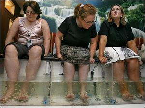 Three pedicure customers soak their feet in their individual fish tanks at the salon in Alexandria, Va.