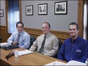Republicans Rich Cline, 22, left, Tyler Shuff, 23, and Aaron Montz, 22, right, are believed to be the youngest council members in Tiffin since 1937, when Thomas Zoller, 22, was elected. The three men attended Columbian High School together and graduated just four years ago. Mr. Shuff said he believes he and his young colleagues bring 'energetic leadership and fresh ideas' to council.