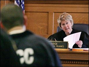 Judge Ruth Ann Franks sentences Yvan Garcia yesterday in the 2004 killing of Misada Shalan as the woman was eating.