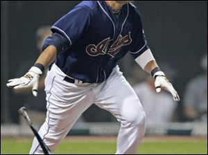 The Indians  Shin-Soo Choo watches his double off the Tigers  Armando Galarraga to drive in a run in the sixth inning.