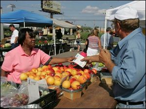Brenda Slaughter, 64, of Toledo uses vouchers to select fruits and vegetables from Konstadinos Konstandas, also of Toledo, at the Toledo Farmers' Market on Secor Road.