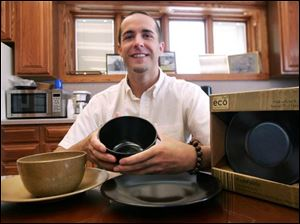Larry Ohlman III says his efforts to make an eco-friendly flowerpot led to his biodegradable tableware line.