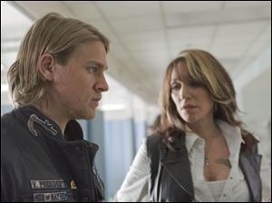 Jax Teller (Charlie Hunnam) and his ruthless mother, Gemma (Katey Sagal) in a scene from  Sons of Anarchy.