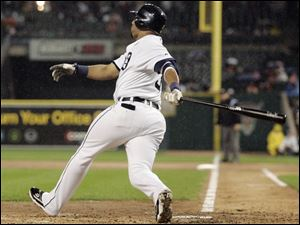 Gary Sheffield smacks a grand slam in the second inning last night. He had five RBIs.