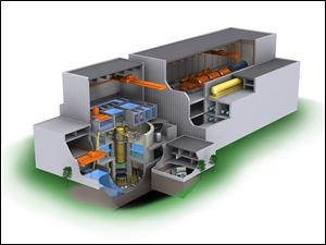 This conceptual cutaway drawing shows the new breed of boiling-water reactor that DTE is considering. The nuclear core is on the left and the generators are on the right.