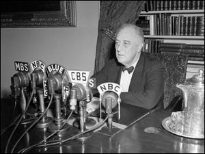 President Franklin D. Roosevelt broadcasts his annual message to Congress, Jan. 11, 1944, in Washington. The president topped a five-point victory program with a recommendation for national service legislation to make all able-bodied adults available for the war effort. (ASSOCIATED PRESS)