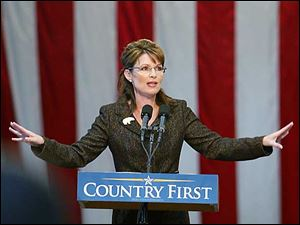 Alaska Gov. Sarah Palin, speaks during a rally at Hobart Arena in Troy, Ohio, Thursday.