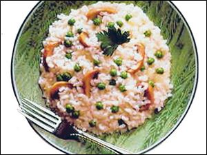 Risotto with Peas and Mushrooms.