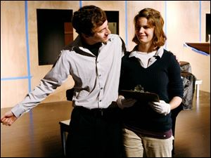 Dylan Corp and Sabrina Allen rehearse a scene from 'Pillow Talk.'