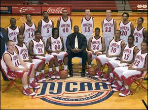 The Owens Community College men's basketball team is, from left, front, Brett McDougle, Ronnie Phillips, Terren Jones, Justin Manns, assistant coach Marcus Evans, DeAngelo Jordan, Brew Story, Tommie Clark, and Brandon Drake, and back, assistant coach Corey Tucker, Fletcher Noble, Michael Lee, Donald Lucious, Mario Graham, Chris Wade, Nick Owens, Joshua Robinson, Eric Thomas, and head coach Kevin Skaggs.