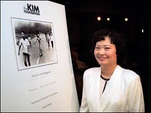 Kim Phuc, who was severely burned by napalm in June, 1972, has formed a foundation to help young war victims. She will speak tomorrow at Liberty Baptist Church in Toledo.