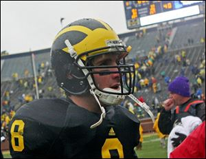 Nick Sheridan was an honorable-mention all-conference quarterback his senior year at Saline High. He walked on to Michigan's football team the next year and wasn't awarded a scholarship until this summer.