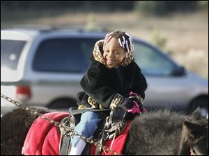 NBRN matthes04p Aaniya (cq) Jordan, 3, of Detroit, on a pony from Lynda's (cq) Pony Rides.  25th annual Christmas tree festival at Matthes Evergreen Farm in Ida, Michigan, on November 29, 2008.  The Blade/Jetta Fraser