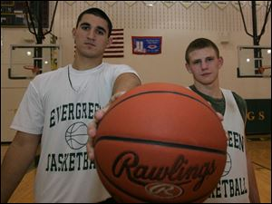 Evergreen has two of the top returning players in the Northwest Ohio Athletic League with Brock Bates, left, and Chad Mossing. The Vikings' only NWOAL title came in 1998.