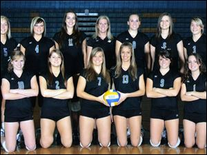 Members of the Ida High School Bluestreaks volleyball team are, from left, front row, Carley Osgood, Tonya Berta, Ashley Begeman, Kari Honomichl, Shelby McCain, and Megan Helmer, and back row, Kaitlyn Hopper-Fox, Molly Daniels, Suzanne Taylor, coach Bree Russow, Erika Lehr, Nicole Farrell, and Rachel Swanson.